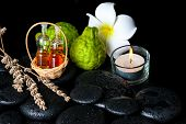 Aromatic Spa Concept Of Bottles Essential Oil, Bergamot Fruits, Plumeria Flower, Candle And Dried La