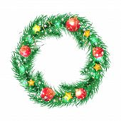 Green christmas tree wreath with Christmas decorations.