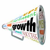 Growth words on a bullhorn or megaphone including improve, increase, rise, boost, expand and advance to illustrate more results in reaching goal and success