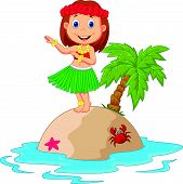 image of hula dancer  - illustration of Hula girl in the tropical island - JPG