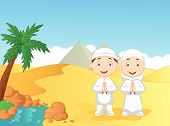 stock photo of muslim kids  - illustration of Cartoon Muslim kids with pyramid background - JPG