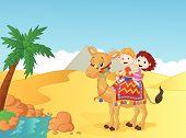 Happy kids riding camel vector