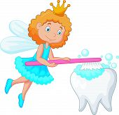 Tooth fairy brushing tooth