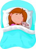 Cartoon girl sleeping with stuffed bear