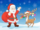 Cartoon Santa clause with deer vector