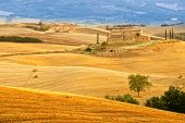 image of manor  - Lonely manor among harvested fields of Tuscany - JPG