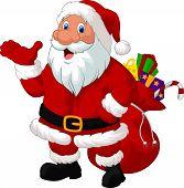 Happy Santa with sack vector