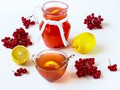 Drink With A Guelder-rose And A Lemon
