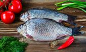 Fresh Fish With Tomatoes, Pepper, Green Onions And Fennel