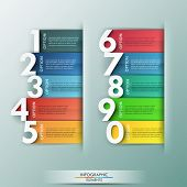 stock photo of colorful banner  - Modern infographics options banner with 10 realistic colorful ribbons and big numbers - JPG