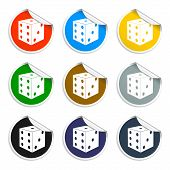 Set Of Blank Stickers. Casino Game Symbol. Vector Illustration.