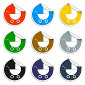 Set Of Blank Stickers. Pram Icon. Vector Illustration.