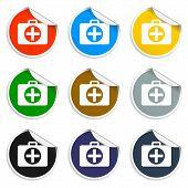 Set Of Blank Stickers. Ambulanse Icon. Vector Illustration.