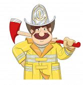 Fireman in uniform with ax. Eps10 vector illustration. Isolated on white background