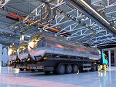 Trucks with fuel in the hangar.