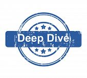 Deep Dive business concept stamp with stars isolated on a white background.