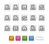 Book Icons // Outline Buttons - Each color in a layer. To see the desired color, you need to make it visible in the layer panel -- EPS 10+ Contain Transparencies