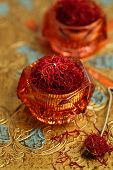 foto of saffron  - saffron spice in antique vintage glass bowl - JPG