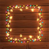 stock photo of christmas greetings  - Glowing Christmas Lights Frame for Xmas Holiday Greeting Cards Design - JPG