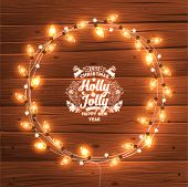 foto of glow  - Glowing White Christmas Lights Wreath for Xmas Holiday Greeting Cards Design - JPG