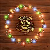 stock photo of christmas wreath  - Glowing Christmas Lights Wreath for Xmas Holiday Greeting Cards Design - JPG