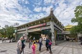 TAIPEI, TAIWAN - November 16th : Tourists walking toward the exit of Longshan Temple station of Taipei MRT, Taipei, Taiwan on November 16th, 2014.