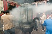 TAIPEI, TAIWAN - November 16th : The incense burner with smoky in Longshan Temple, Taiwan on November 16th, 2014.