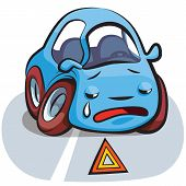 Crashed Car Cartoon Vector