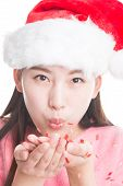Young Asian Woman With Christmas Hat Isolated On White.