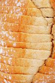 closeup of a sliced pan de payes, a round bread typical of Catalonia, Spain