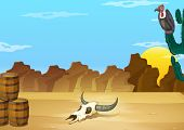 picture of desert animal  - A desert with a dead animal beside the wooden barrels - JPG