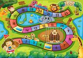 stock photo of zoo  - Illustration of a board game with zoo background - JPG