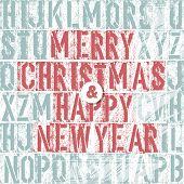 Merry Christmas Letterpress. Raster version