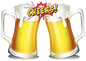 pic of drawing beer  - Mugs of beers on a white background  - JPG