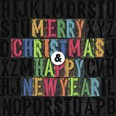 Merry Christmas Letterpress Concept With Colorful Letters. Raster version