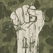 Fist symbol (revolution) on military camouflage background. Raster version