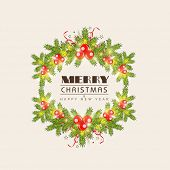 Merry Christmas and Happy New Year celebrations concept with frame decorated by  mistletoe and fir tree on beige background.