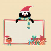 Cartoon of a penguin in Santa cap holding blank white board decorated with gift boxes and cute bird on the occasion of Merry Christmas.