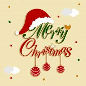 Merry Christmas celebration concept with colorful text and X-mas ornaments on clouds decorated stylish background.