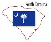 South Carolina Stte Map And Flag