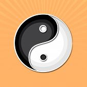Stylish Chinese symbol Yin-Yang on orange background.