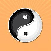 Stylish Chinese symbol Yin-Yang on orange background.