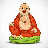 Sitting laughing Buddha in red traditional clothes on grey background.