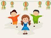 Cute little kids celebrating on occasion of Indian Republic Day or Independence Day with hanging balls in national flag colors.