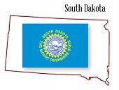 South Dakota State Map And Flag