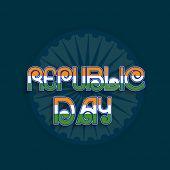Stylish text Republic Day in national tricolor on Ashoka Wheel decorated blue background, can be used as poster or banner design.