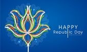Happy Indian Republic Day celebrations with National Flower Lotus in tricolor on blue background.