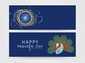 Website header or banner set with floral design decorated Ashoka Wheel and National Bird Peacock on blue background for Happy Republic Day celebrations.