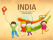 Cute little kids celebrating Indian Republic Day and Independence Day with kite, National Flag, tricolor and Ashoka Wheel on grungy background.