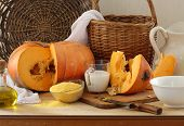 pumpkin, groats and milk and a wattled basket